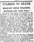 STABBED TO DEATH. BELFAST DOCK TRAGEDY....