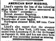 AMERICAN SHIP MISSING.