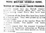 MORE BRITISH VESSELS SUNK. MASTER OF TRAWLER...