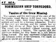 NORWEGIAN SHIP TORPEDOED, Twelve of the Crew...