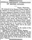 AUSTRIAN EMPEROR'S APPRECIATION OF BRITISH...