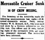 Mercantile Cruiser Sunk. 16 OF CREW MISSING.