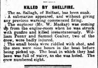 KILLED BY SHELLFIRE