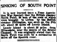 SINKING OF SOUTH POINT
