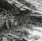 Ruined slate splitter's shelter,...