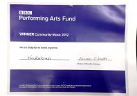 Grant certificate from the BBC Performing Arts...