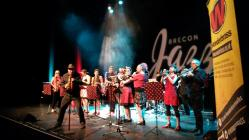 Wonderbrass playing in the Theatr Brycheiniog,...