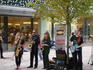 Wonderbrass playing at the opening of the new...