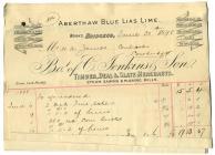 Aberthaw Blue Lias Lime Works, invoice