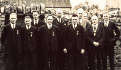 Group of men with medals, Cowbridge 1940s