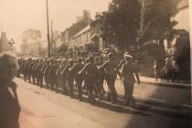 Military parade, Eastgate, Cowbridge 1940s