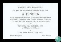 Invitation to the retirement dinner of Rabbi L....