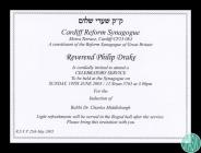 Invitation to the induction of Rabbi Dr Charles...