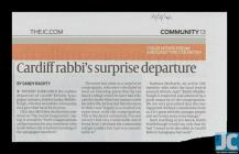 """Cardiff rabbi's surprise departure..."