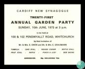 Invitation to Cardiff New Synagogue's...