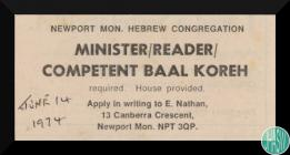 Newspaper job advertisement for a Minister...