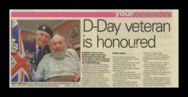 Newspaper article reporting on the 103 birthday...