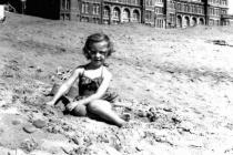 Jean Frost on the beach, Rhyl, 1956