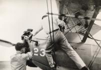 Cranking the engine on a PT 17A at Ponca City,...