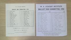 Ballot paper for Lysaght Committee, Newport 1976