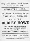Election Leaflet for Dudley Howe