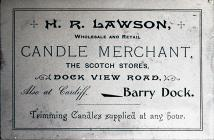 Advertisement for H.R. Lawson, Candle Merchant.
