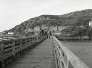 The railway bridge over the Mawddach estuary,...