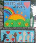 Arwydd tu allan i Ysgol Llanbedrog, Cyfnod y...