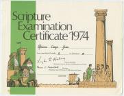 Methodist Scripture Examination Certificate, 1974