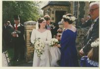 Wedding at Hyssington Methodist Church, 1995.