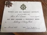 Mary Bott, Women's Land Army Proficiency...