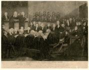 Engraving of the trial at Shirehall, Monmouth