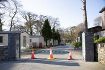 Cones block the entrance to a caravan park in...