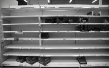 Empty shelves at Tesco supermarket, Bangor