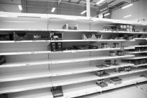Empty pasta shelves, Tesco, Bangor