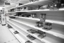 Empty shelves, Tesco supermarket, Bangor