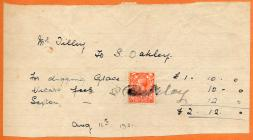 Holy Cross church, Cowbridge, 1921 invoice