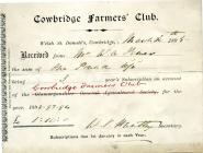Cowbridge Farmers' Club invoice 1895
