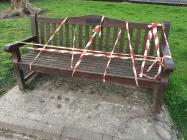 Locked down park bench at Roath Recreational...