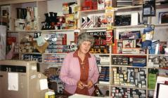 Mrs Barbara Bennett at Bennetts Electricals, 1970s