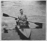 Anthony Hewlett canoeing on the boating lake at...