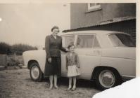 Dora & Ruth Phillips in farmyard, Middleton...