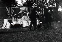 Llangibby House party, 1902, group outside with...