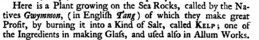 Kelp at Holyhead. Extract from Morris, L., 1748...