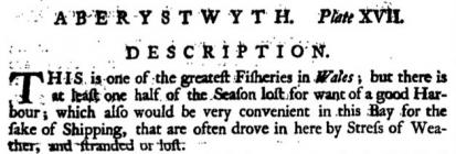 Fisheries in  Aberystwyth. Extract from Morris,...