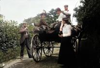 Llangibby House party with horse and cart, 1902...