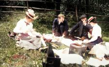 Llangibby House party picnic, 1902 - colourised