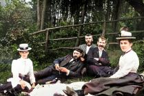 Llangibby House, party picnic, 1902 - colourised