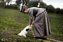 Llangibby House party, woman with dog, 1902 -...