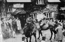White Hart Inn and hunt, Llangybi, early 1900